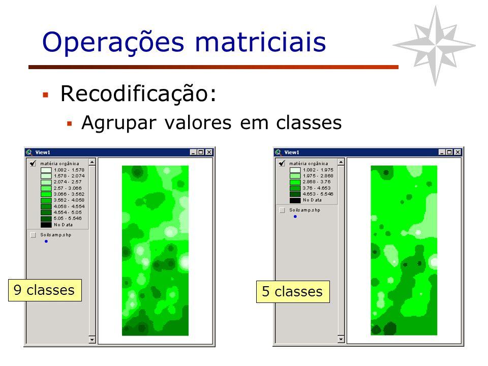 Operações matriciais Recodificação: Agrupar valores em classes 9 classes 5 classes
