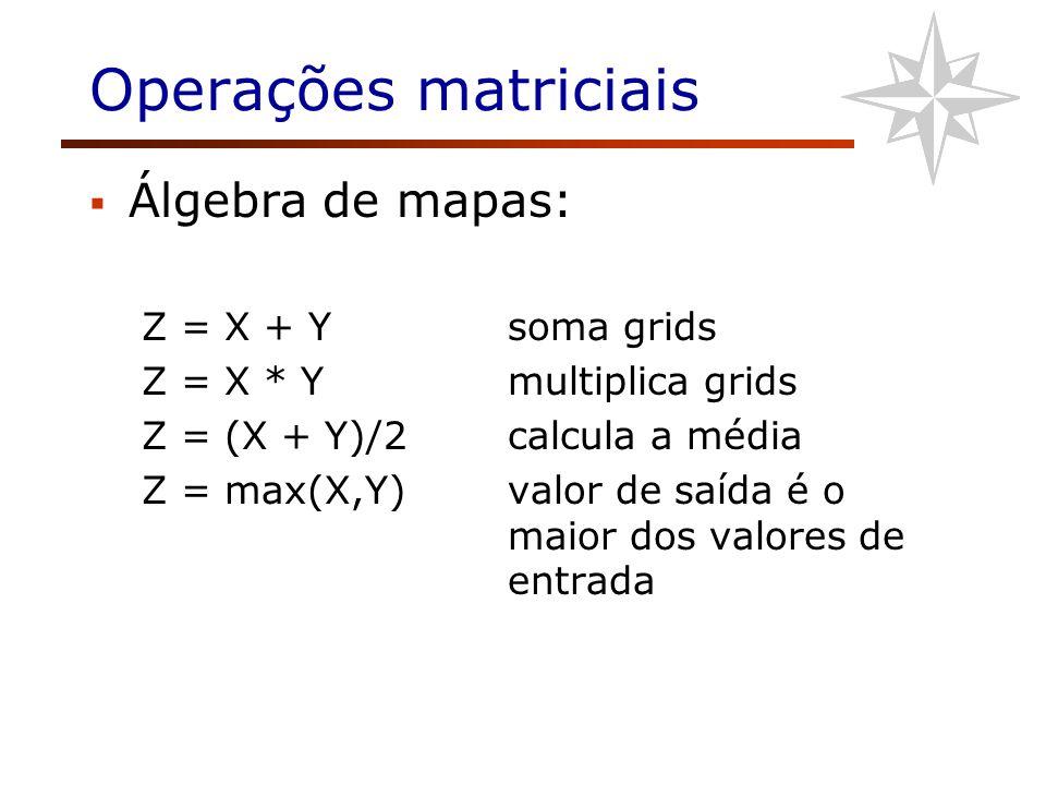 Operações matriciais Álgebra de mapas: Z = X + Ysoma grids Z = X * Ymultiplica grids Z = (X + Y)/2calcula a média Z = max(X,Y)valor de saída é o maior