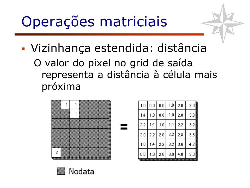 Operações matriciais Vizinhança estendida: distância O valor do pixel no grid de saída representa a distância à célula mais próxima