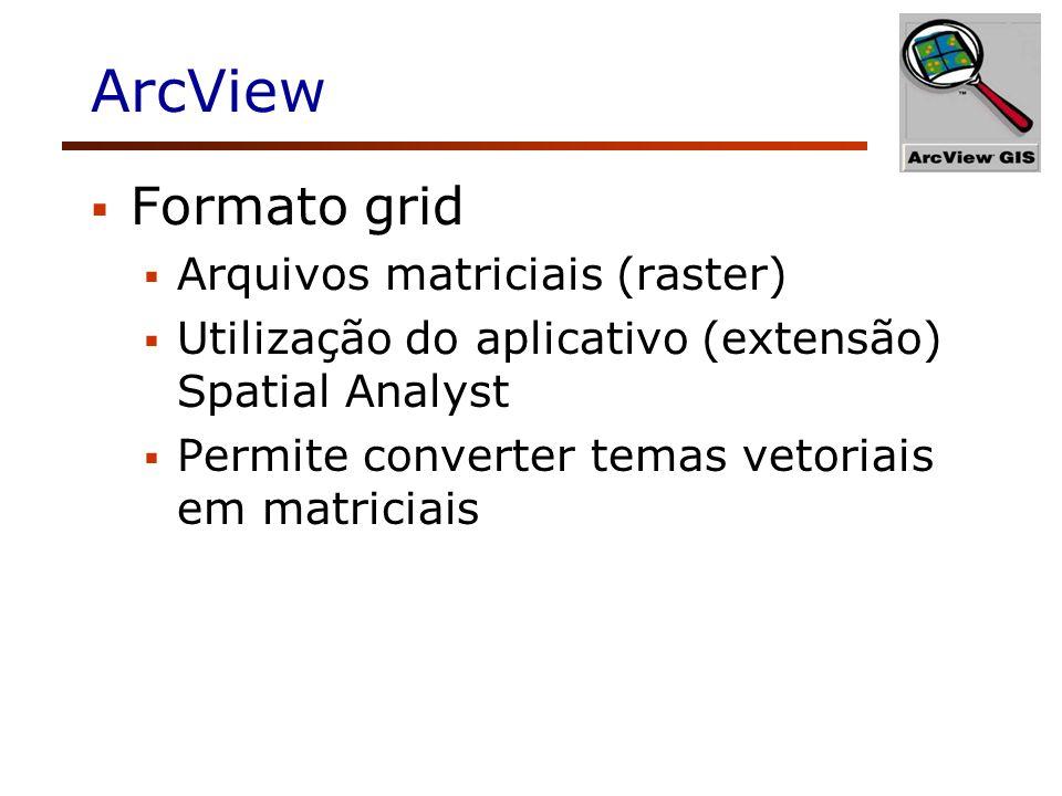 ArcView Formato grid Arquivos matriciais (raster) Utilização do aplicativo (extensão) Spatial Analyst Permite converter temas vetoriais em matriciais
