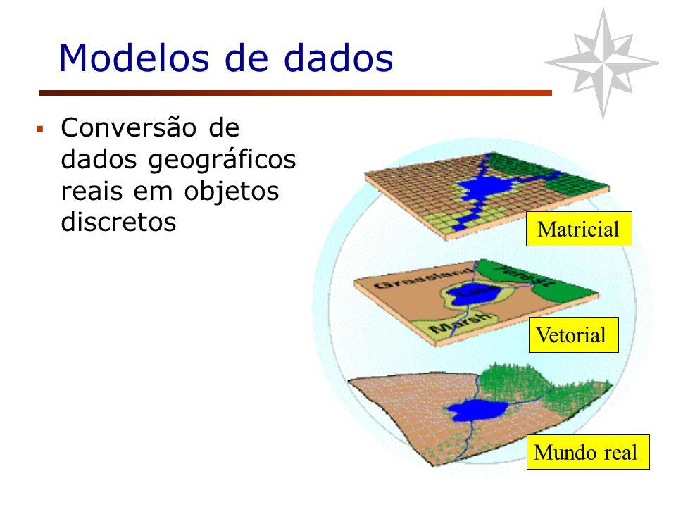 Modelos de dados Matricial Vetorial Mundo real Conversão de dados geográficos reais em objetos discretos