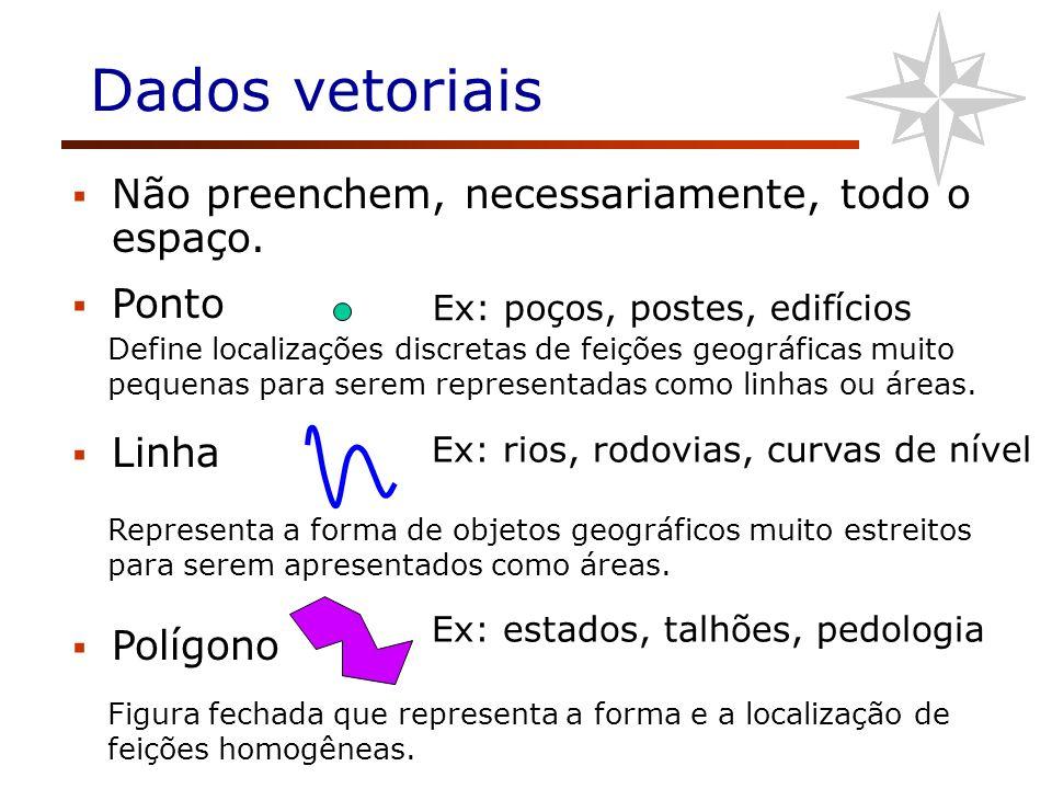 Ponto Dados vetoriais Não preenchem, necessariamente, todo o espaço. Ex: poços, postes, edifícios Ex: rios, rodovias, curvas de nível Ex: estados, tal