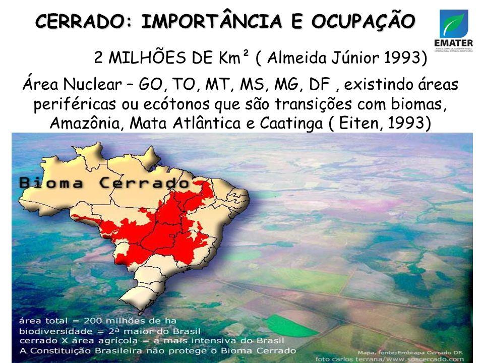 CERRADO: IMPORTÂNCIA E OCUPAÇÃO 2 MILHÕES DE Km² ( Almeida Júnior 1993) Área Nuclear – GO, TO, MT, MS, MG, DF, existindo áreas periféricas ou ecótonos que são transições com biomas, Amazônia, Mata Atlântica e Caatinga ( Eiten, 1993)