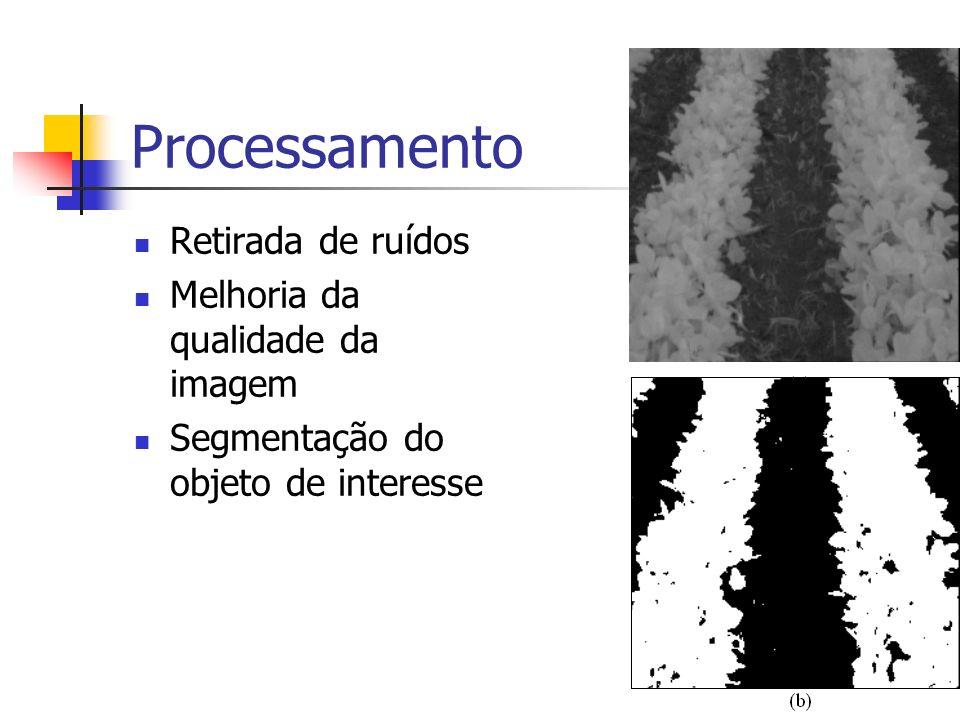 Processamento Retirada de ruídos Melhoria da qualidade da imagem Segmentação do objeto de interesse