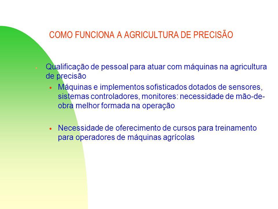 COMO FUNCIONA A AGRICULTURA DE PRECISÃO Qualificação de pessoal para atuar com máquinas na agricultura de precisão Máquinas e implementos sofisticados