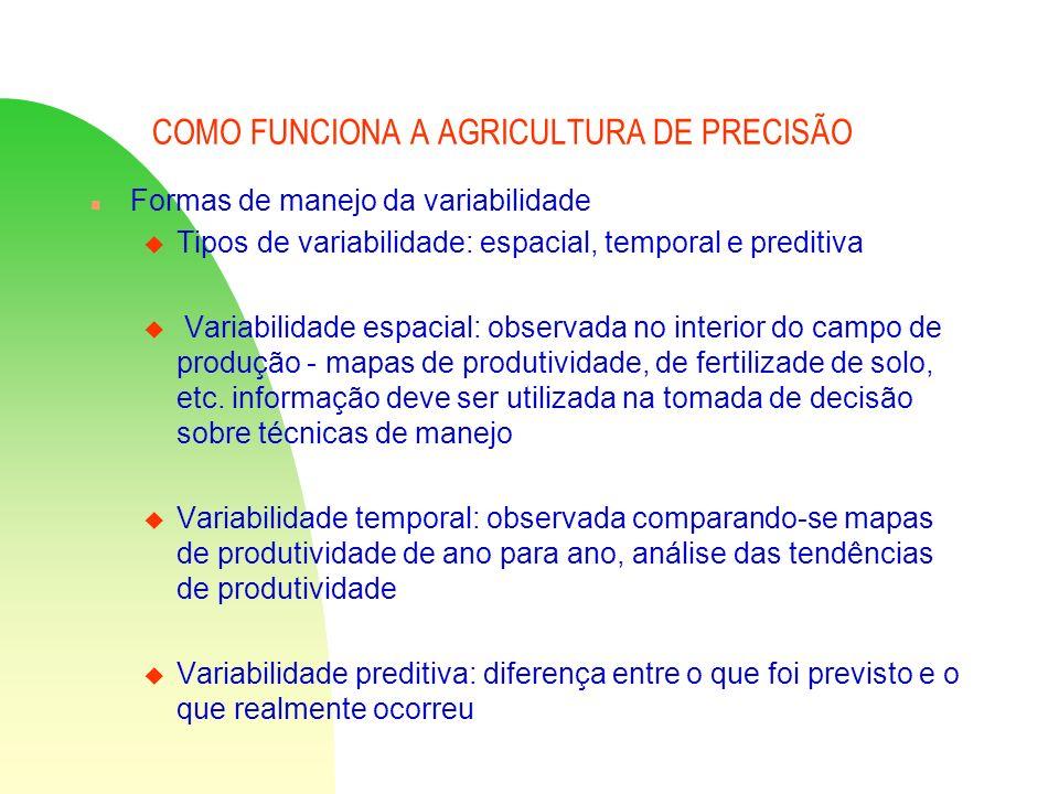 COMO FUNCIONA A AGRICULTURA DE PRECISÃO n Formas de manejo da variabilidade u Tipos de variabilidade: espacial, temporal e preditiva u Variabilidade e