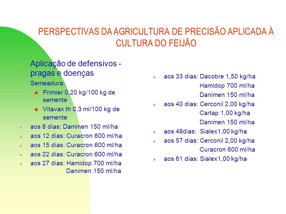 PERSPECTIVAS DA AGRICULTURA DE PRECISÃO APLICADA À CULTURA DO FEIJÃO n Aplicação de defensivos - pragas e doenças n Semeadura: u Primier 0,20 kg/100 k