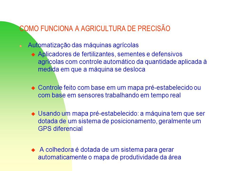 COMO FUNCIONA A AGRICULTURA DE PRECISÃO n Automatização das máquinas agrícolas u Aplicadores de fertilizantes, sementes e defensivos agrícolas com con