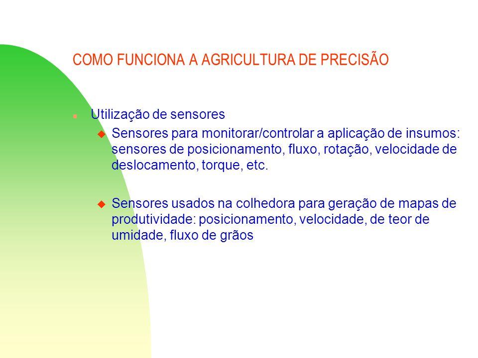 COMO FUNCIONA A AGRICULTURA DE PRECISÃO n Utilização de sensores u Sensores para monitorar/controlar a aplicação de insumos: sensores de posicionament