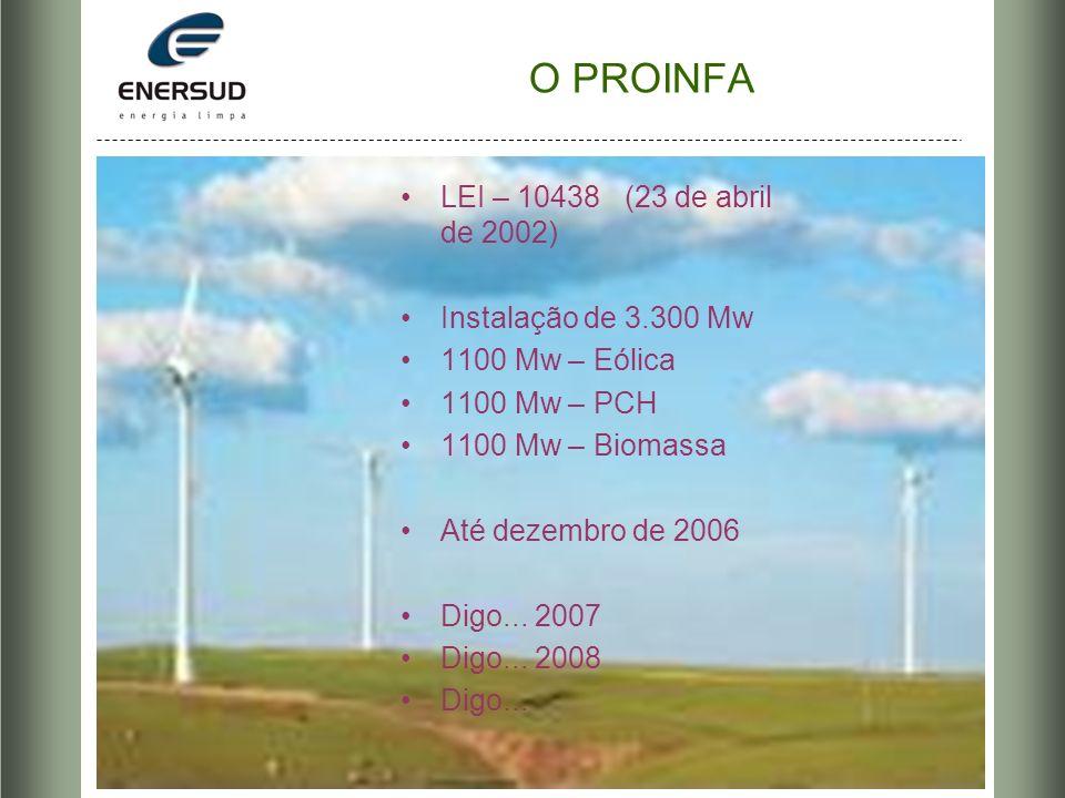 O PROINFA LEI – 10438 (23 de abril de 2002) Instalação de 3.300 Mw 1100 Mw – Eólica 1100 Mw – PCH 1100 Mw – Biomassa Até dezembro de 2006 Digo... 2007
