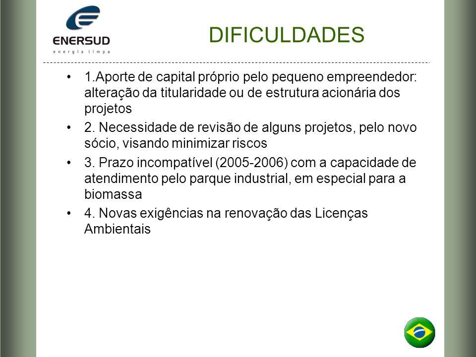 DIFICULDADES 1.Aporte de capital próprio pelo pequeno empreendedor: alteração da titularidade ou de estrutura acionária dos projetos 2. Necessidade de