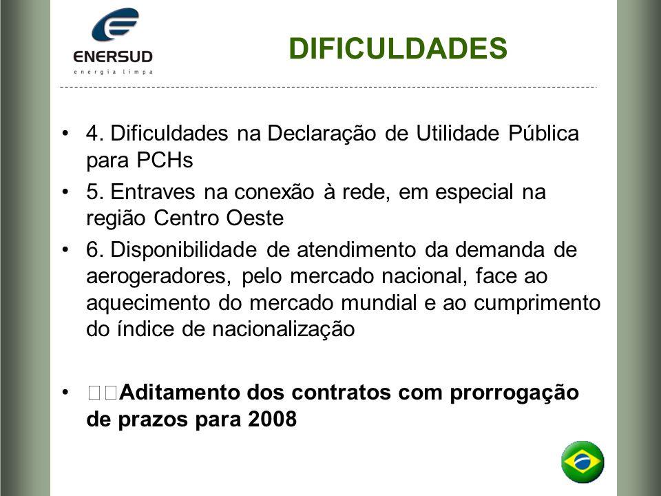 DIFICULDADES 4. Dificuldades na Declaração de Utilidade Pública para PCHs 5. Entraves na conexão à rede, em especial na região Centro Oeste 6. Disponi