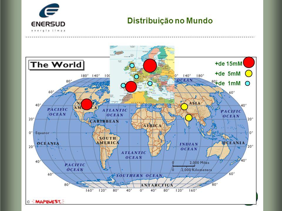 Distribuição no Mundo +de 15mM +de 5mM +de 1mM
