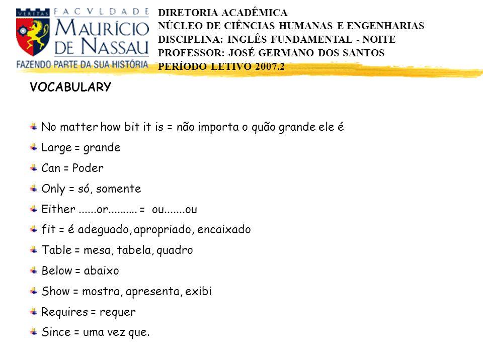 DIRETORIA ACADÊMICA NÚCLEO DE CIÊNCIAS HUMANAS E ENGENHARIAS DISCIPLINA: INGLÊS FUNDAMENTAL - NOITE PROFESSOR: JOSÉ GERMANO DOS SANTOS PERÍODO LETIVO 2007.2 Exercises Answer these questions according to the text.