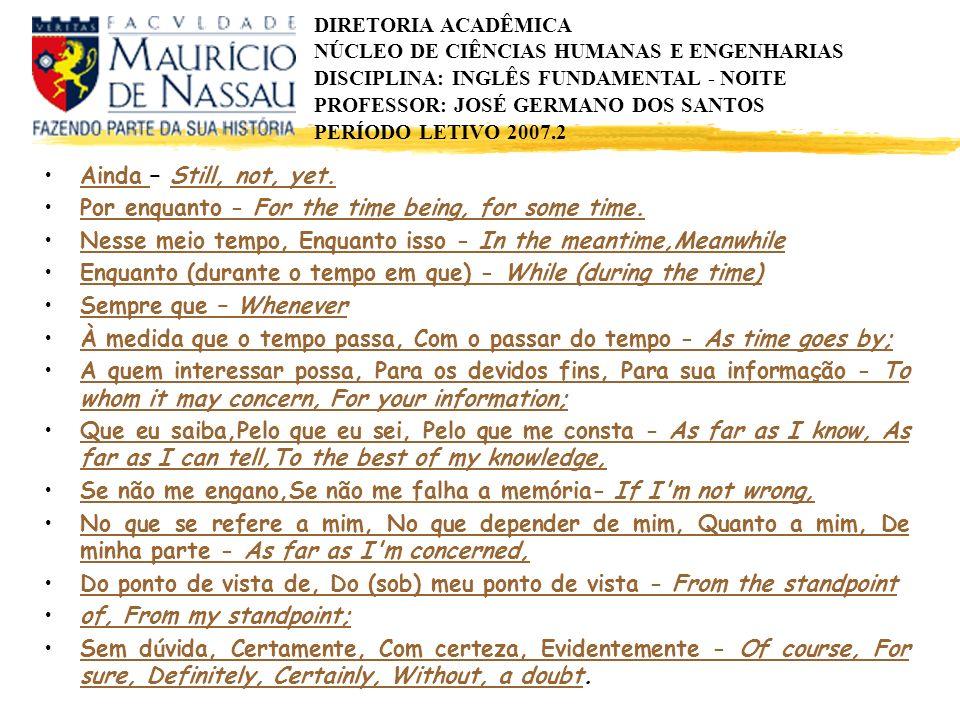 DIRETORIA ACADÊMICA NÚCLEO DE CIÊNCIAS HUMANAS E ENGENHARIAS DISCIPLINA: INGLÊS FUNDAMENTAL - NOITE PROFESSOR: JOSÉ GERMANO DOS SANTOS PERÍODO LETIVO 2007.2 Ainda – Still, not, yet.Ainda Still, not, yet.