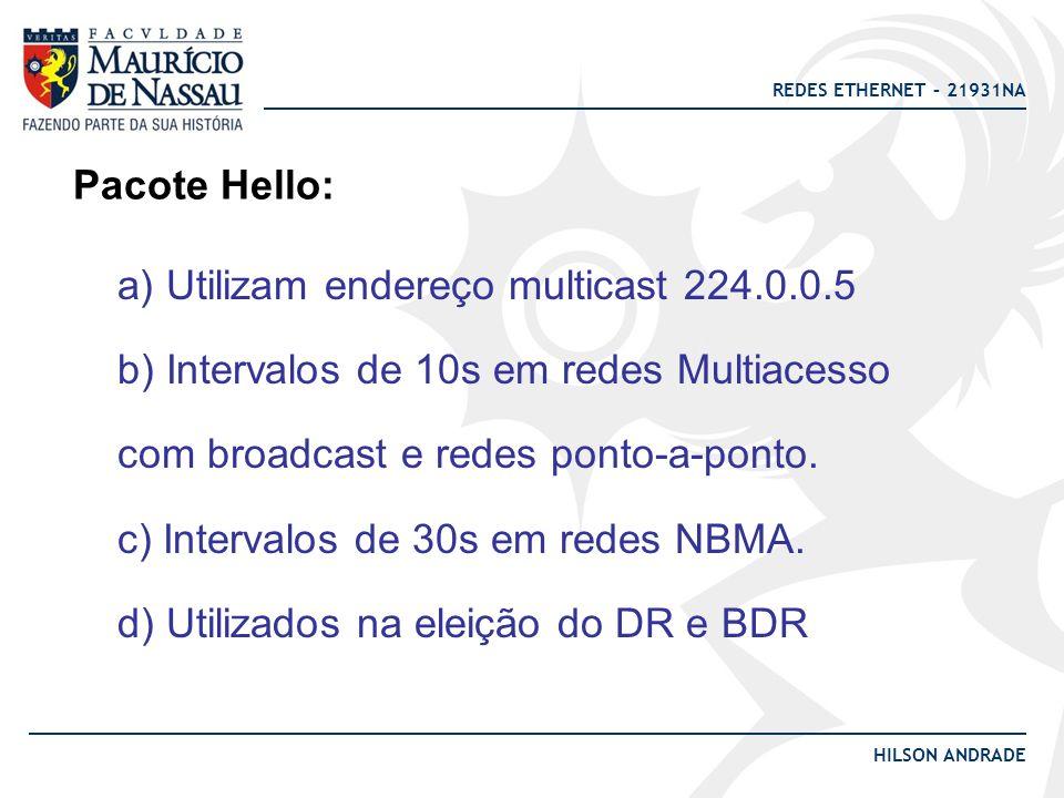 REDES ETHERNET – 21931NA HILSON ANDRADE Pacote Hello: a) Utilizam endereço multicast 224.0.0.5 b) Intervalos de 10s em redes Multiacesso com broadcast e redes ponto-a-ponto.