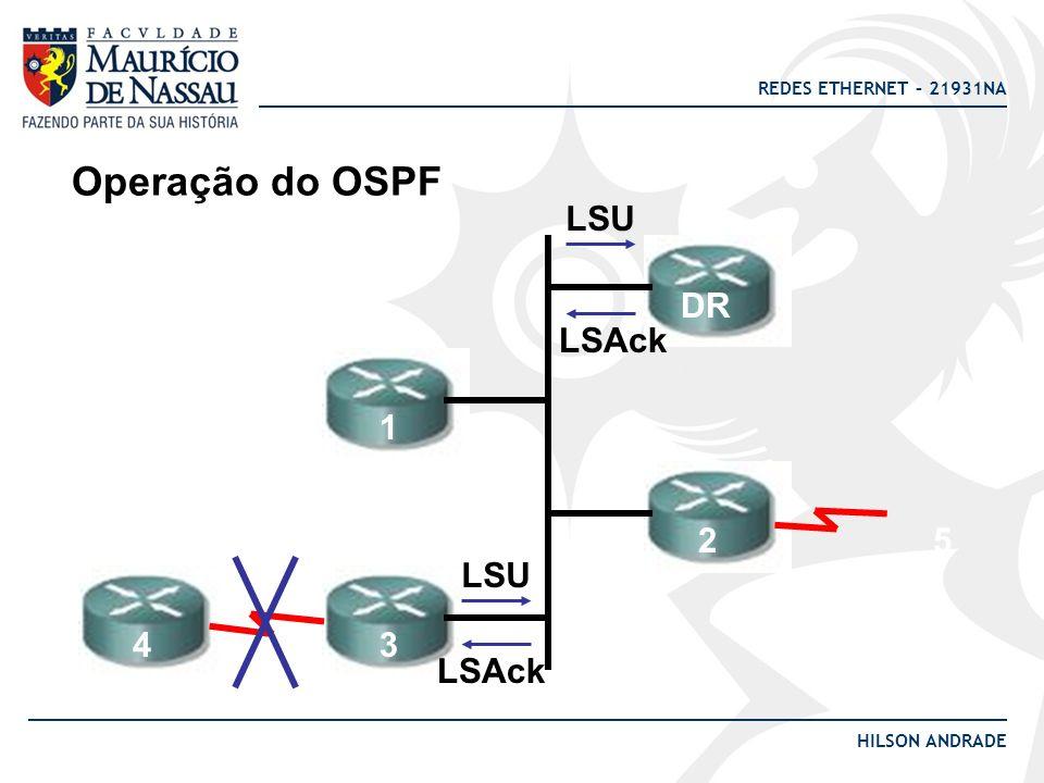 REDES ETHERNET – 21931NA HILSON ANDRADE Operação do OSPF LSU DR 1 2 34 LSAck 5