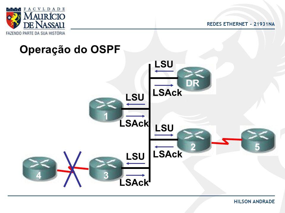 REDES ETHERNET – 21931NA HILSON ANDRADE Operação do OSPF LSU DR 1 2 34 LSAck LSU 5