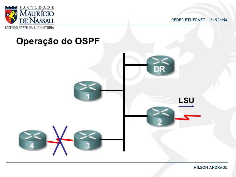 REDES ETHERNET – 21931NA HILSON ANDRADE Operação do OSPF DR 1 2 34 5 LSU