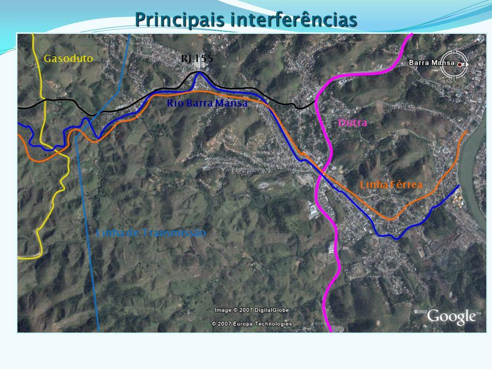 RJ 155 Rio Barra Mansa Gasoduto Dutra Linha de Transmissão Linha Férrea Principais interferências