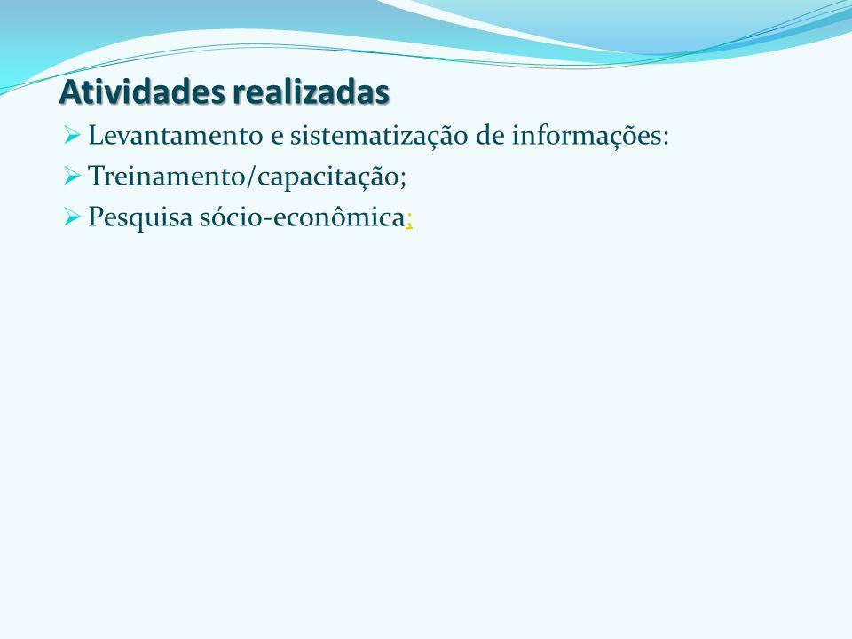 Atividades realizadas Levantamento e sistematização de informações: Treinamento/capacitação; Pesquisa sócio-econômica;;