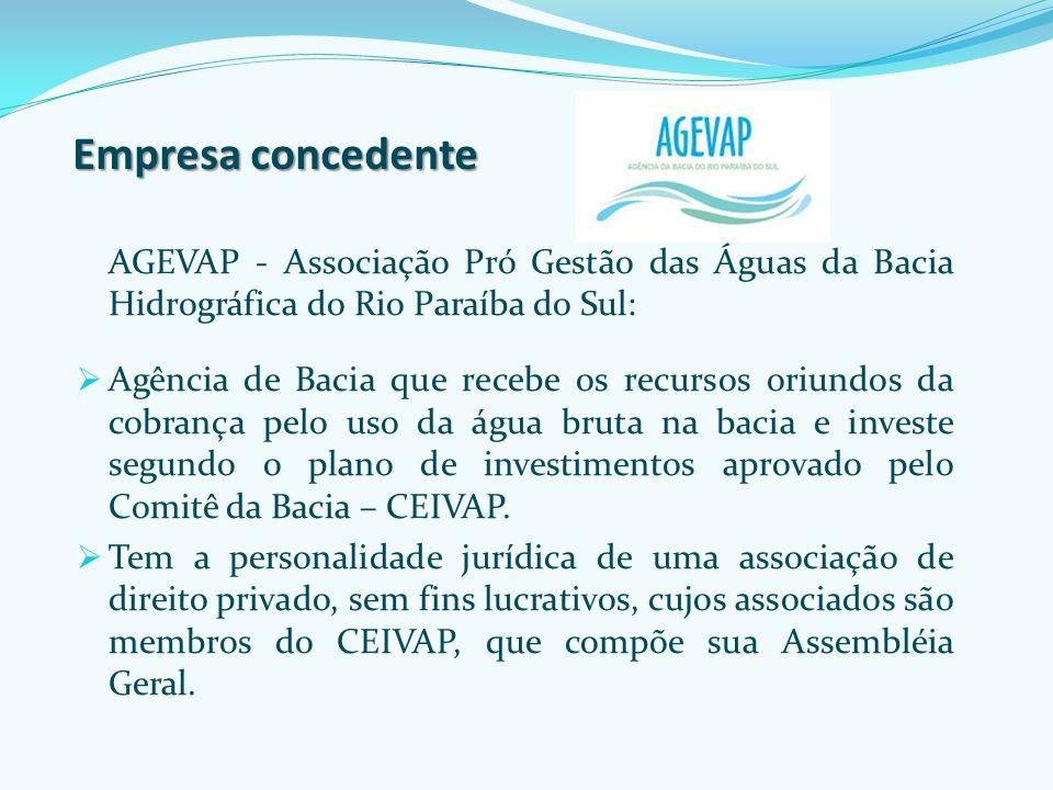 Empresa concedente AGEVAP - Associação Pró Gestão das Águas da Bacia Hidrográfica do Rio Paraíba do Sul: Agência de Bacia que recebe os recursos oriun