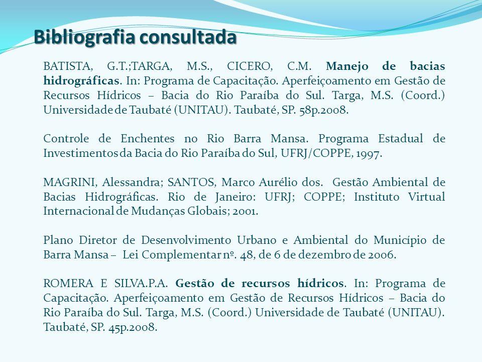 Bibliografia consultada BATISTA, G.T.;TARGA, M.S., CICERO, C.M. Manejo de bacias hidrográficas. In: Programa de Capacitação. Aperfeiçoamento em Gestão