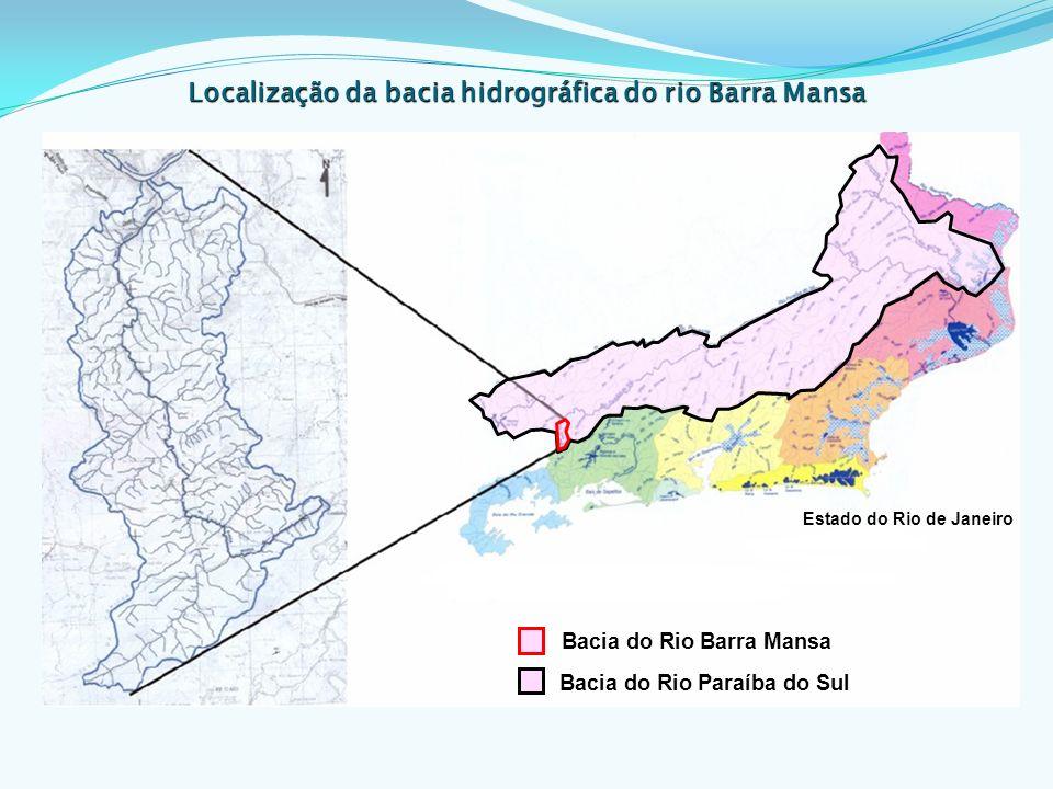 Características da bacia: Extensão de 27 km, ocupando uma área de 110 km²; Abrange dois municípios - Rio Claro (10 km) e Barra Mansa (17 km); Aspectos contrastantes: grau de preservação (município de Rio Claro com 40% de florestas e de Barra Mansa com 4%) e a população habitante (Rio Claro com 17.786, e Barra Mansa com 170.753 habitantes dos quais 96,61% em área urbana).