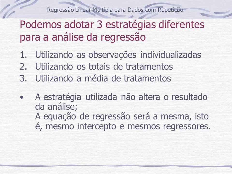 Primeiro caso: utilizando as observações individualizadas Regressão Linear Múltipla para Dados com Repetição