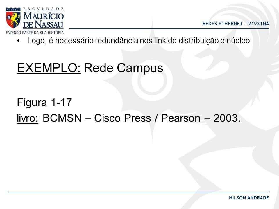 REDES ETHERNET – 21931NA HILSON ANDRADE EXEMPLO: Rede Campus Figura 1-17 livro: BCMSN – Cisco Press / Pearson – 2003. Logo, é necessário redundância n