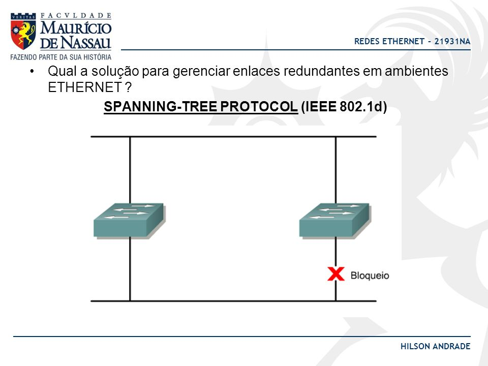 REDES ETHERNET – 21931NA HILSON ANDRADE Qual a solução para gerenciar enlaces redundantes em ambientes ETHERNET ? SPANNING-TREE PROTOCOL (IEEE 802.1d)