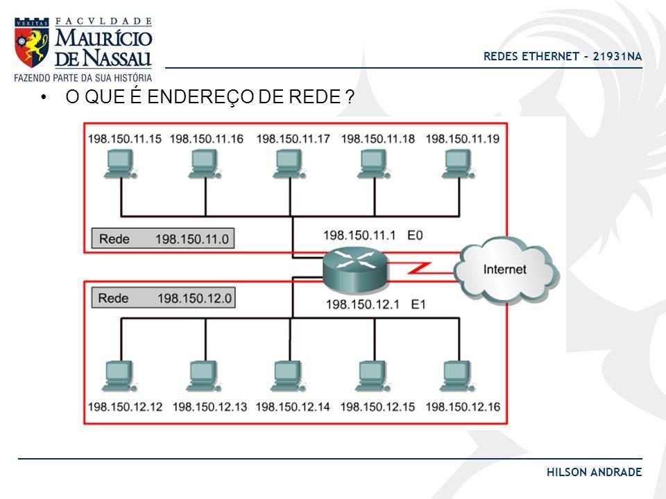 REDES ETHERNET – 21931NA HILSON ANDRADE O QUE É ENDEREÇO DE REDE