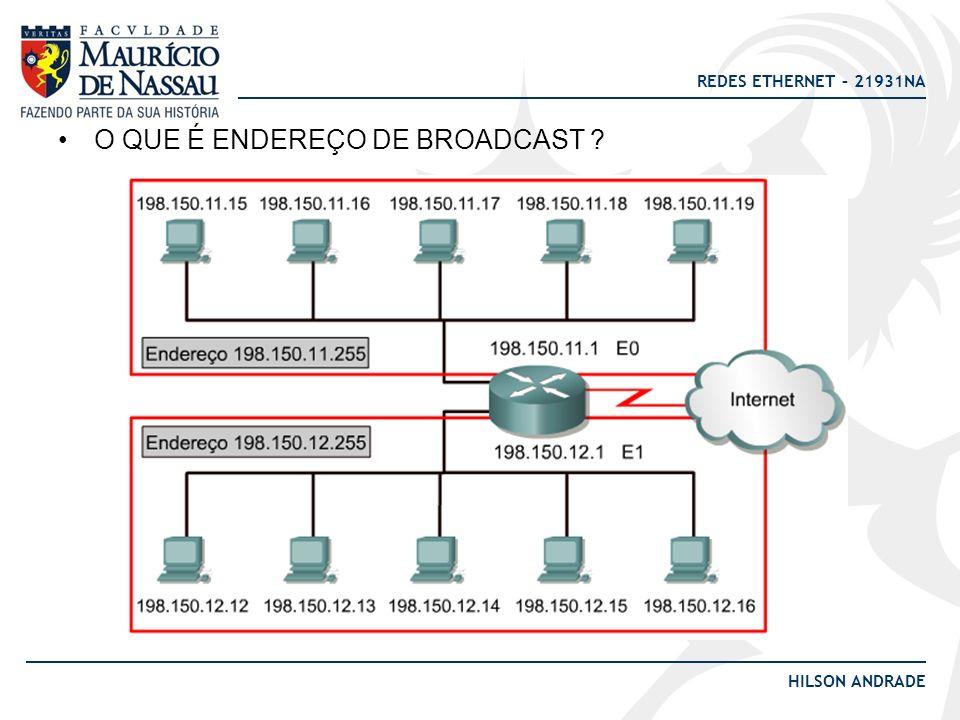 REDES ETHERNET – 21931NA HILSON ANDRADE O QUE É ENDEREÇO DE BROADCAST