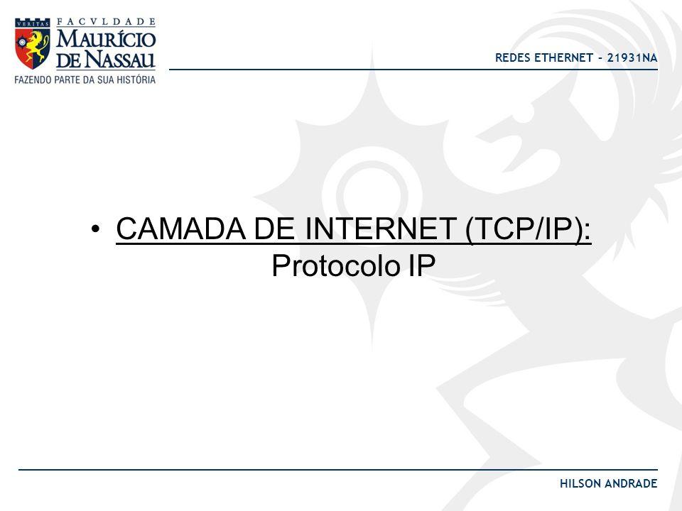 REDES ETHERNET – 21931NA HILSON ANDRADE QUAL A FUNÇÃO DA CAMADA DE REDE (ou INTERNET) ?