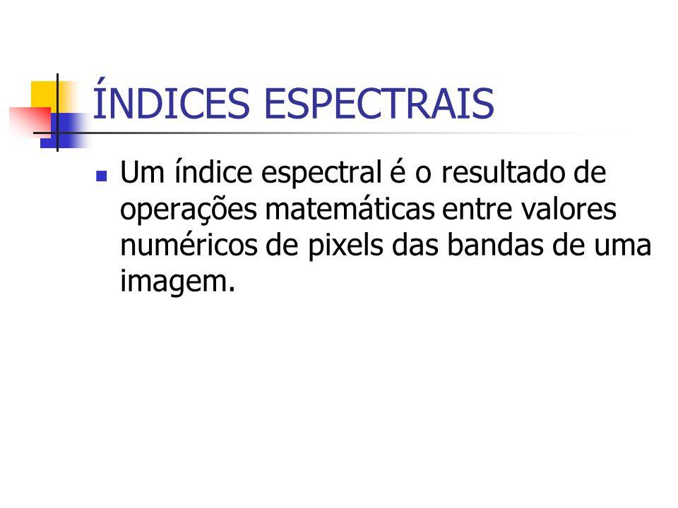ÍNDICES ESPECTRAIS Um índice espectral é o resultado de operações matemáticas entre valores numéricos de pixels das bandas de uma imagem.