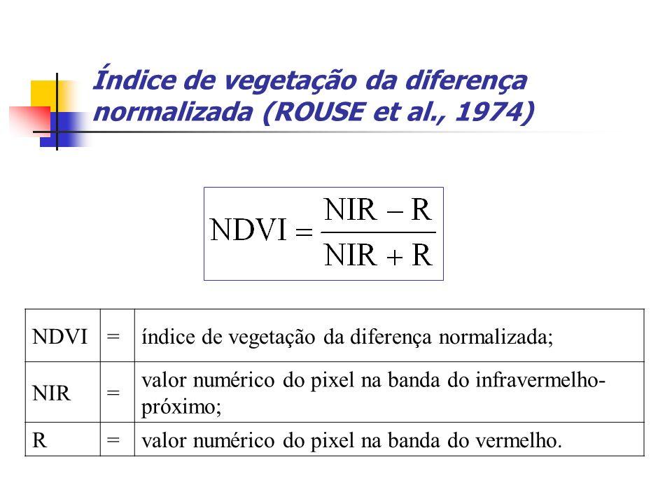 Índice de vegetação da diferença normalizada (ROUSE et al., 1974) NDVI=índice de vegetação da diferença normalizada; NIR= valor numérico do pixel na b