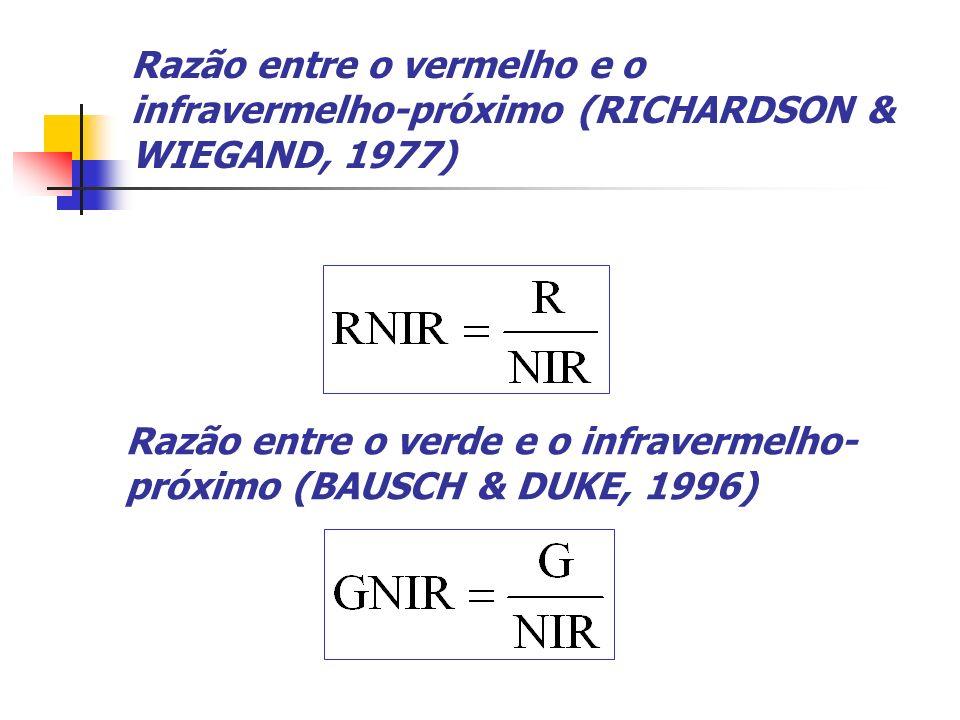 Razão entre o vermelho e o infravermelho-próximo (RICHARDSON & WIEGAND, 1977) Razão entre o verde e o infravermelho- próximo (BAUSCH & DUKE, 1996)