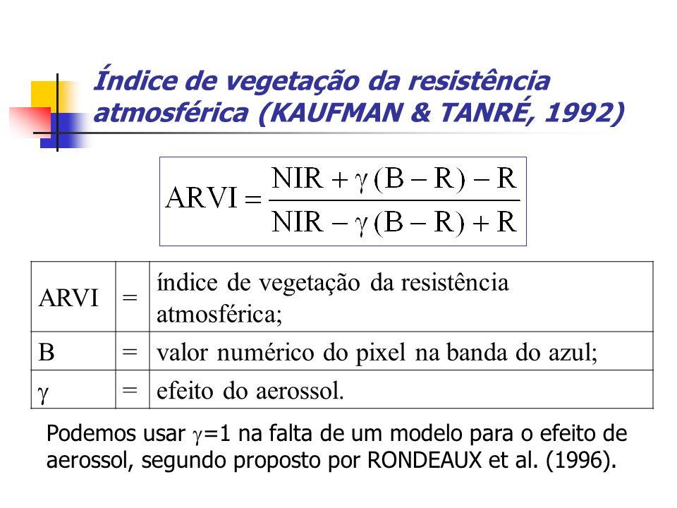 Índice de vegetação da resistência atmosférica (KAUFMAN & TANRÉ, 1992) ARVI= índice de vegetação da resistência atmosférica; B=valor numérico do pixel