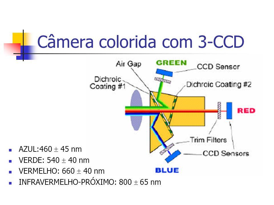 Câmera colorida com 3-CCD AZUL:460 45 nm VERDE: 540 40 nm VERMELHO: 660 40 nm INFRAVERMELHO-PRÓXIMO: 800 65 nm