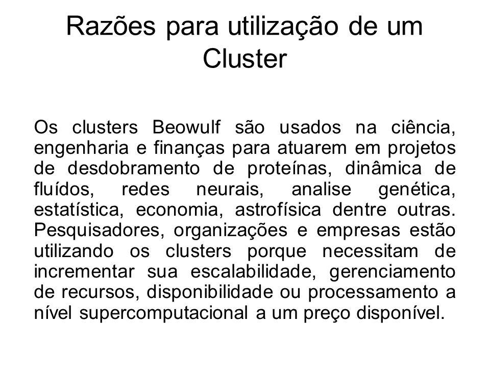 Razões para utilização de um Cluster Os clusters Beowulf são usados na ciência, engenharia e finanças para atuarem em projetos de desdobramento de proteínas, dinâmica de fluídos, redes neurais, analise genética, estatística, economia, astrofísica dentre outras.