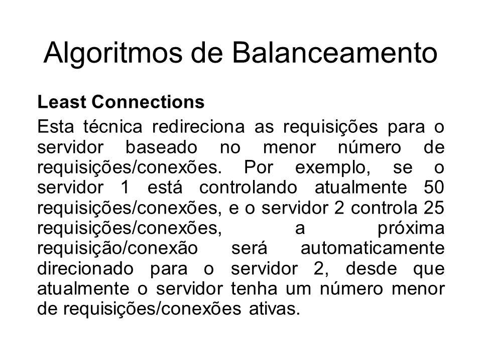 Algoritmos de Balanceamento Least Connections Esta técnica redireciona as requisições para o servidor baseado no menor número de requisições/conexões.