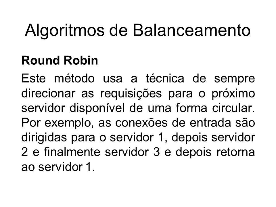 Algoritmos de Balanceamento Round Robin Este método usa a técnica de sempre direcionar as requisições para o próximo servidor disponível de uma forma circular.