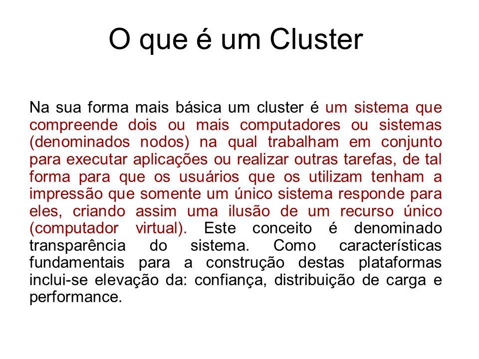 Cluster de Balanceamento de Carga O balanceamento de carga entre servidores faz parte de uma solução abrangente em uma explosiva e crescente utilização da rede e da Internet.