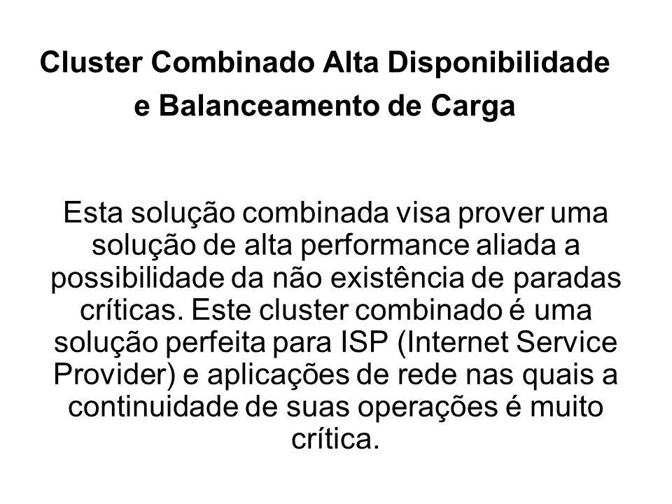 Cluster Combinado Alta Disponibilidade e Balanceamento de Carga Esta solução combinada visa prover uma solução de alta performance aliada a possibilidade da não existência de paradas críticas.
