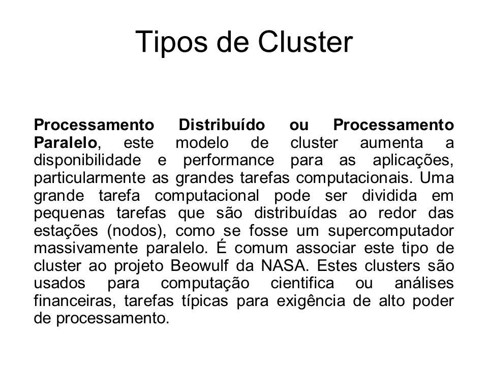 Razões para utilização de um Cluster Clusters ou combinações de clusters são usados quando os conteúdos são críticos ou quando os serviços têm que estar disponíveis e/ou processados o quanto mais rápido possível.