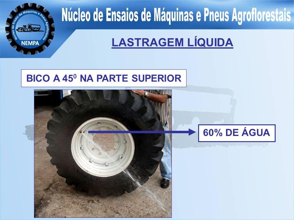 LASTRAGEM LÍQUIDA BICO A 45 0 NA PARTE SUPERIOR 60% DE ÁGUA