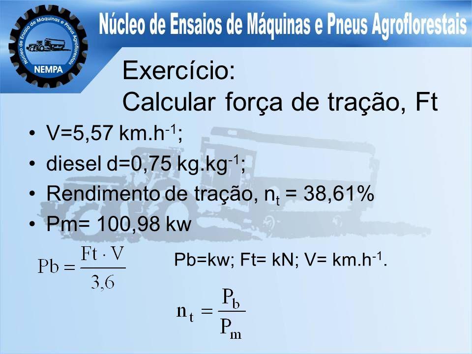 Exercício: Calcular força de tração, Ft V=5,57 km.h -1 ; diesel d=0,75 kg.kg -1 ; Rendimento de tração, n t = 38,61% Pm= 100,98 kw Pb=kw; Ft= kN; V= km.h -1.