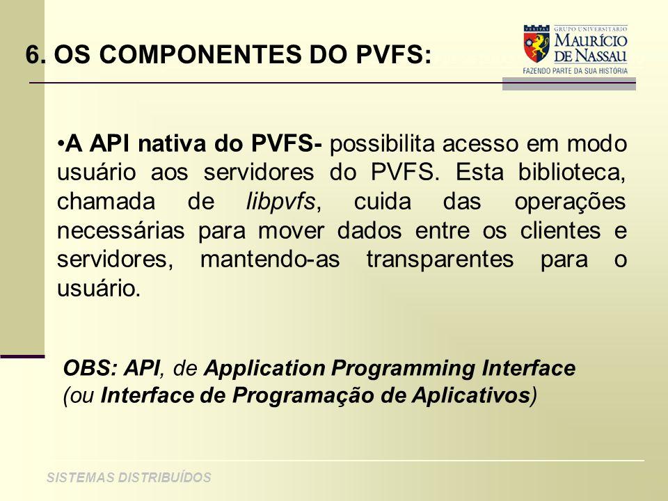 ANÁLISE DE PROJETO DE SISTEMAS ORIENTADOS A OBJETO SISTEMAS DISTRIBUÍDOS 6. OS COMPONENTES DO PVFS: A API nativa do PVFS- possibilita acesso em modo u