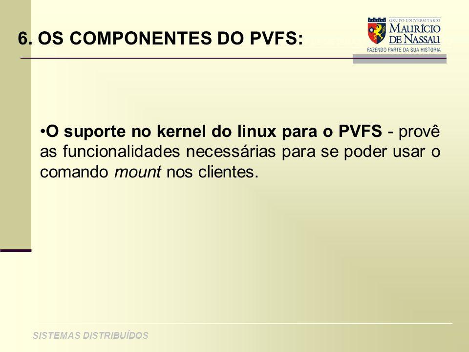 ANÁLISE DE PROJETO DE SISTEMAS ORIENTADOS A OBJETO SISTEMAS DISTRIBUÍDOS 6. OS COMPONENTES DO PVFS: O suporte no kernel do linux para o PVFS - provê a