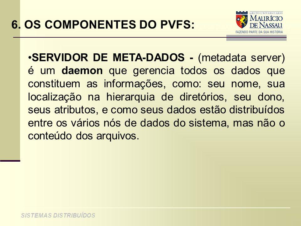 ANÁLISE DE PROJETO DE SISTEMAS ORIENTADOS A OBJETO SISTEMAS DISTRIBUÍDOS 6. OS COMPONENTES DO PVFS: SERVIDOR DE META-DADOS - (metadata server) é um da